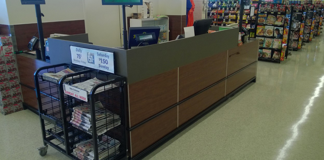 Customer Service area in a grocery store with attached office/storage space.