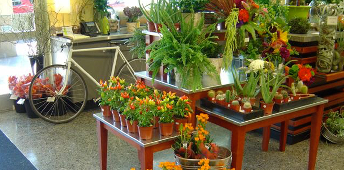 Freestanding floral display for grocery store, with cascading tables at varying heights to showcase potted plants and flowers, gifts and accessories.