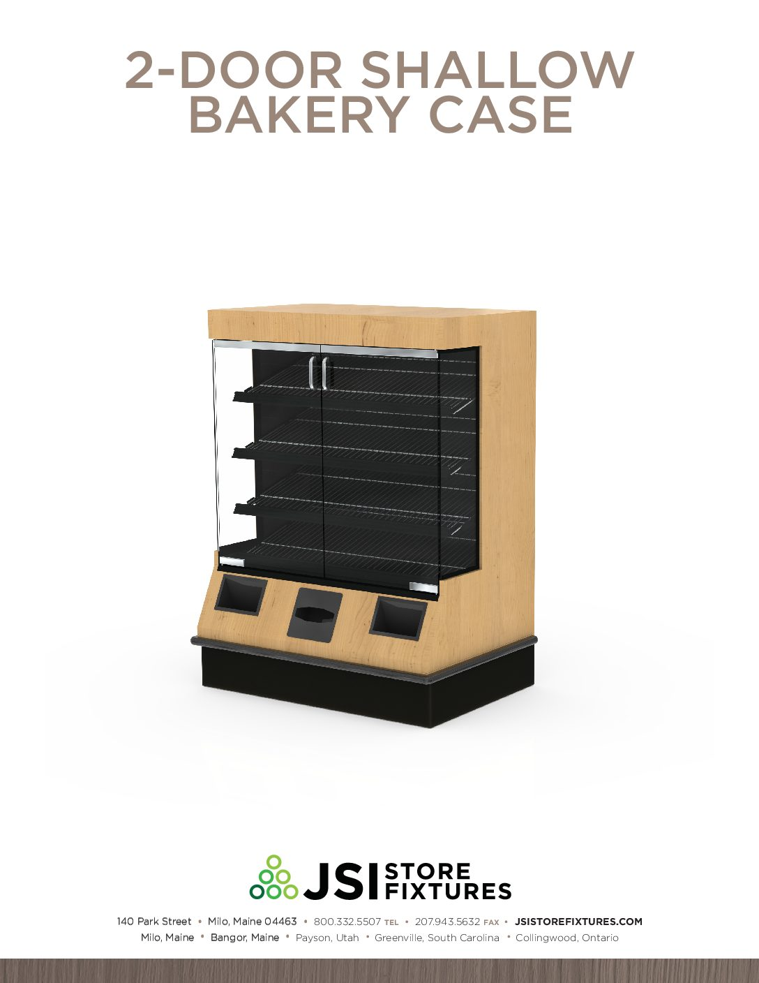 2-Door Shallow Bakery Case Spec Sheet