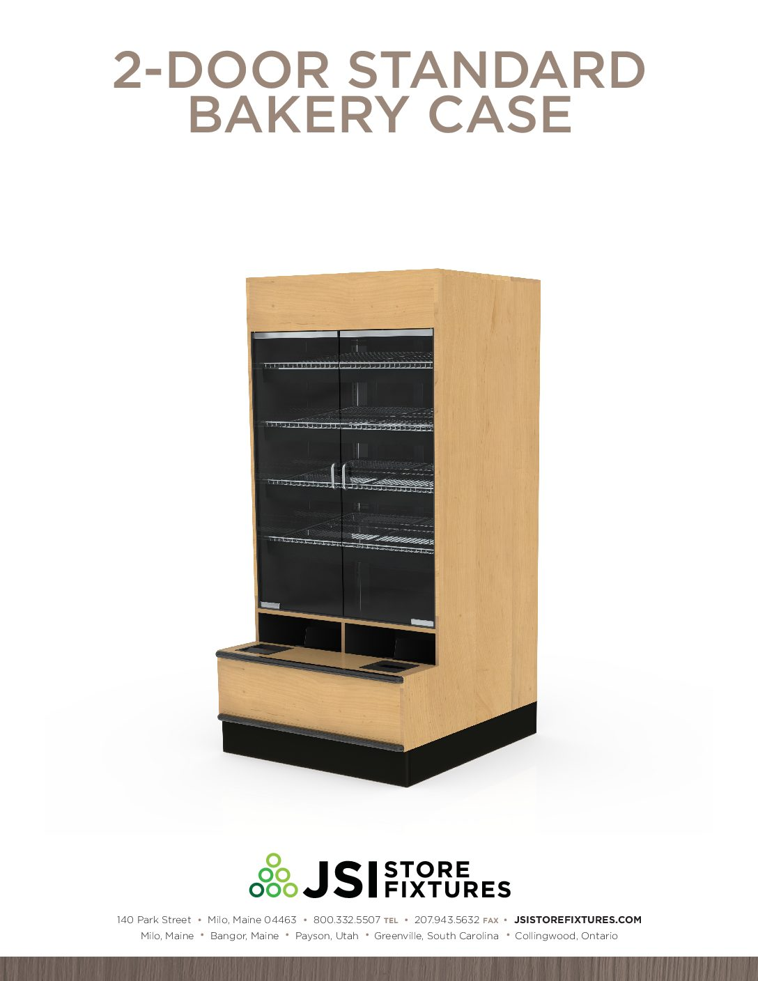 2-Door Standard Bakery Case Spec Sheet