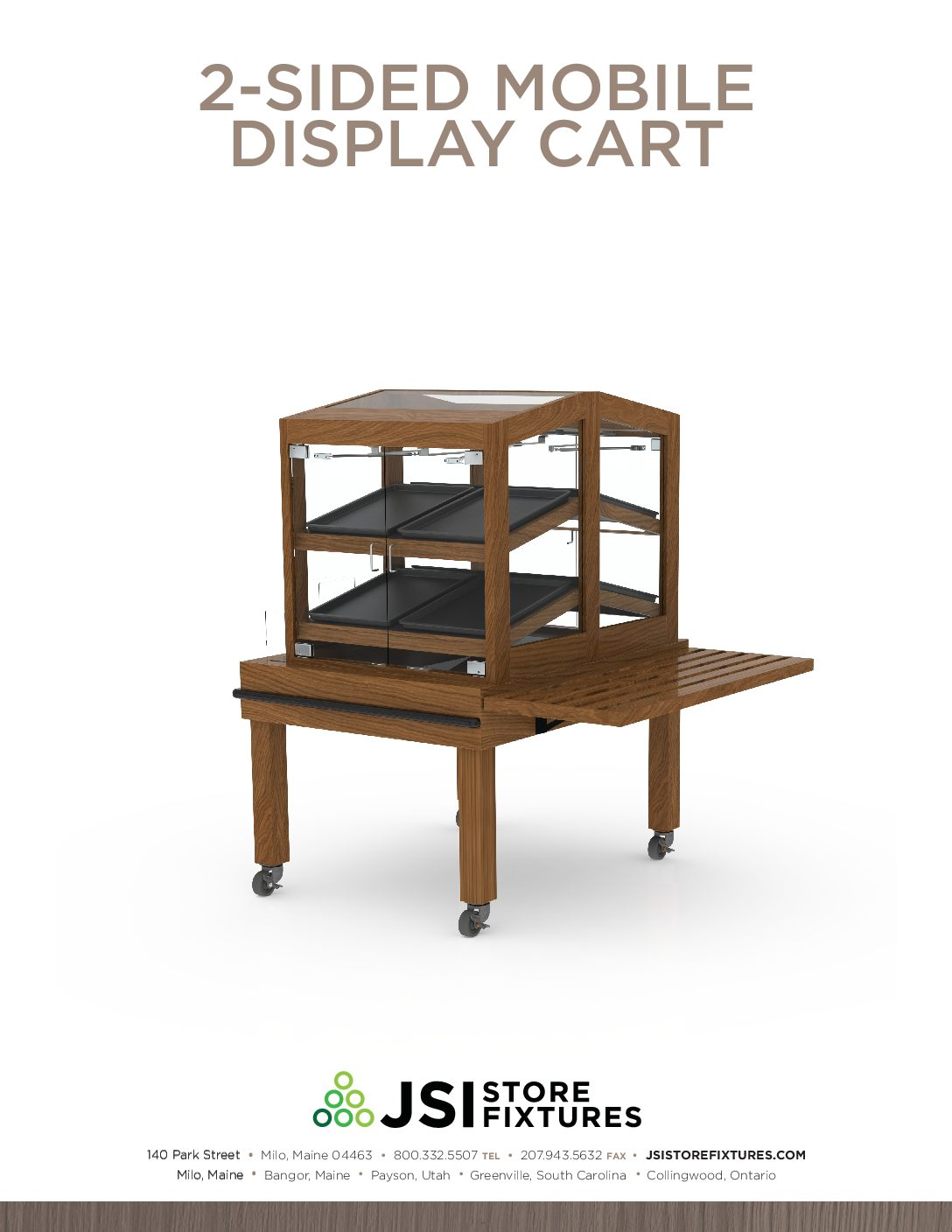 2-Sided Mobile Display Cart Spec Sheet