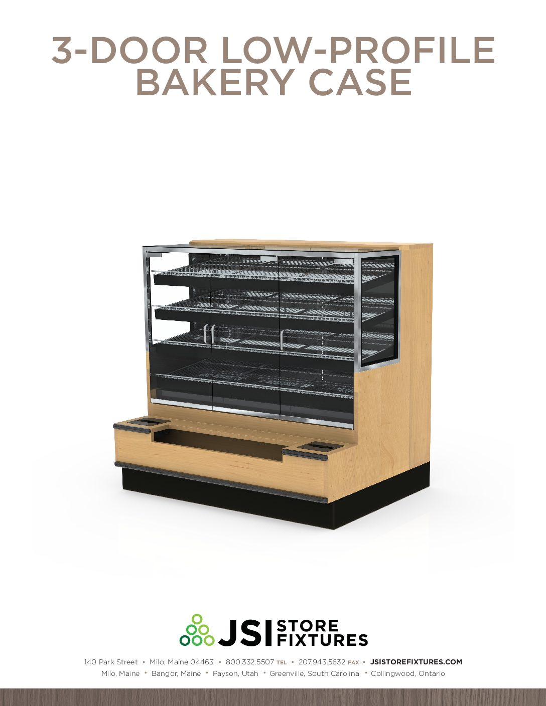 3-Door Low-Profile Bakery Case Spec Sheet