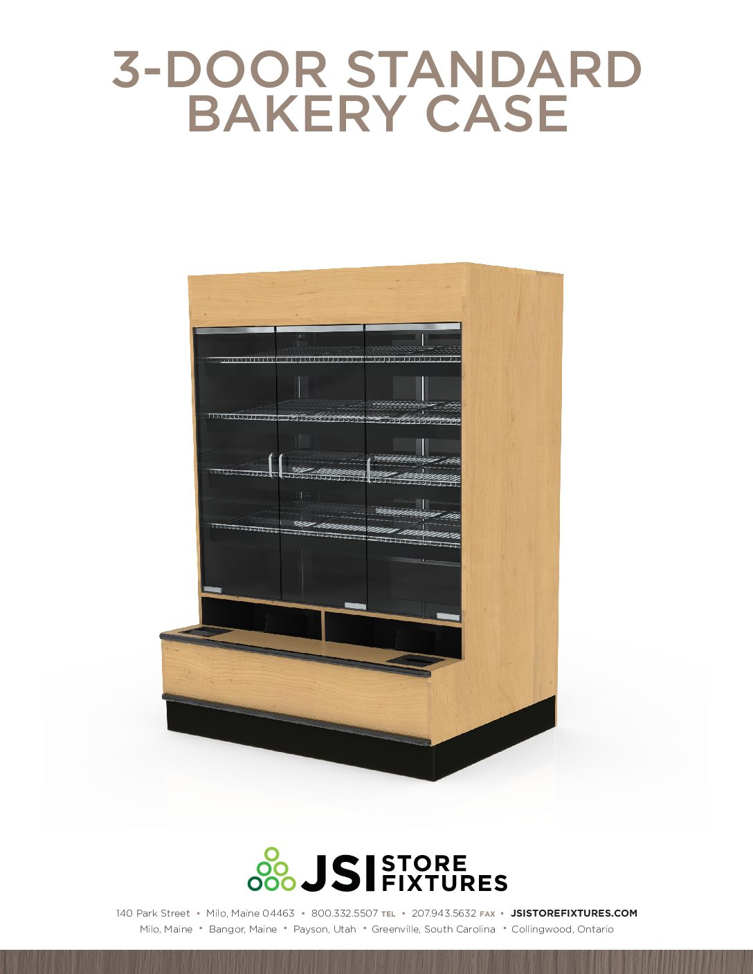 3-Door Standard Bakery Case Spec Sheet