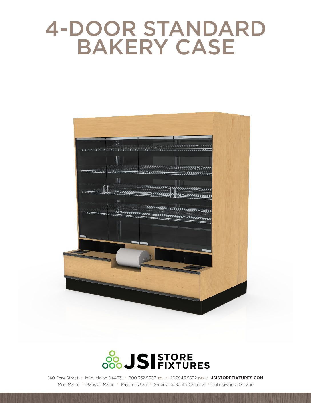 4-Door Standard Bakery Case Spec Sheet