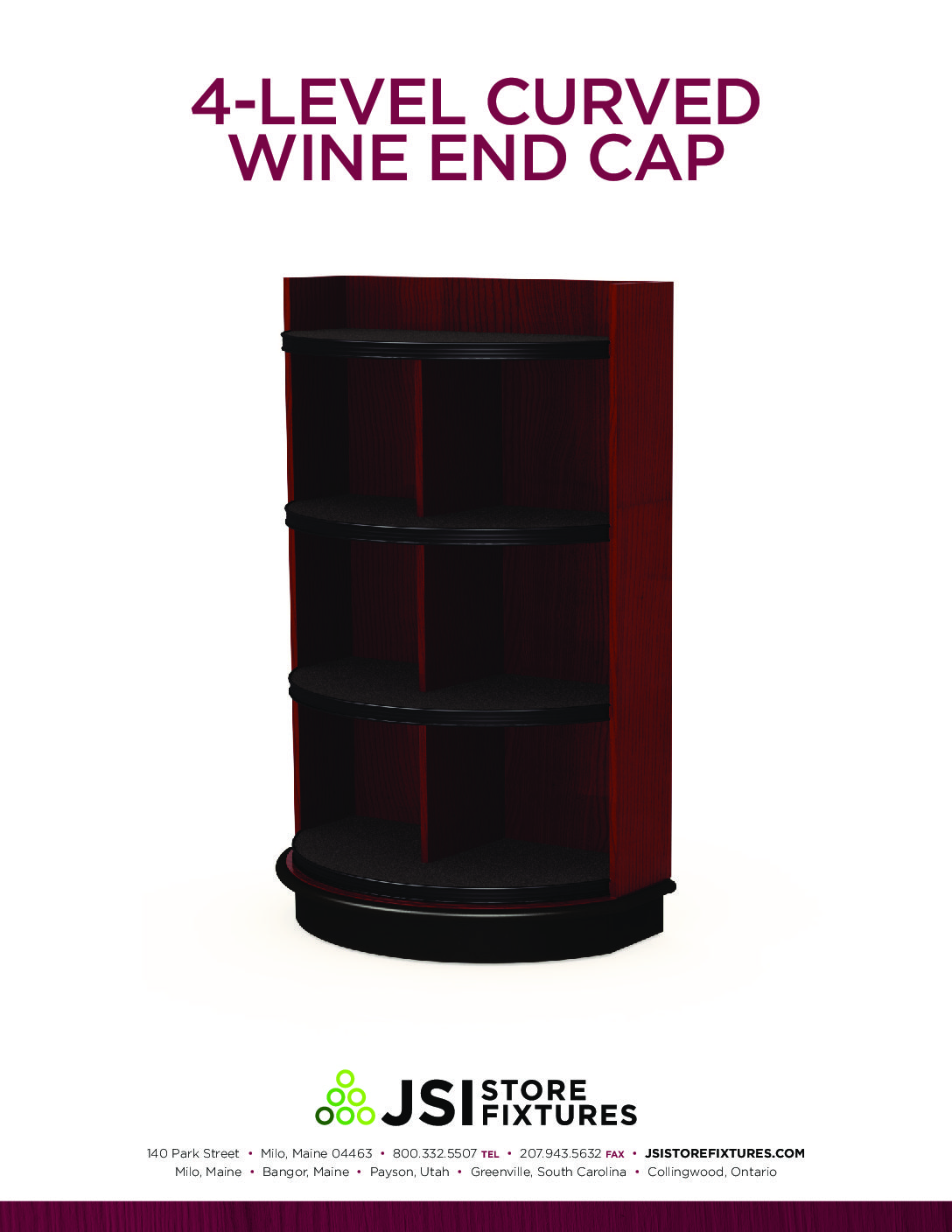 4-Level Curved Wine End Cap Spec Sheet