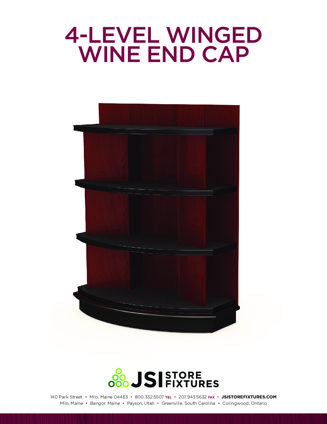 4-Level Winged Wine End Cap