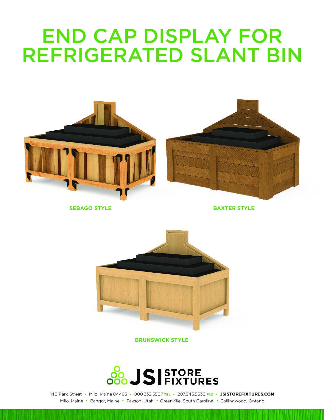 End Cap Display for Refrigerated Slant Bin Spec Sheet