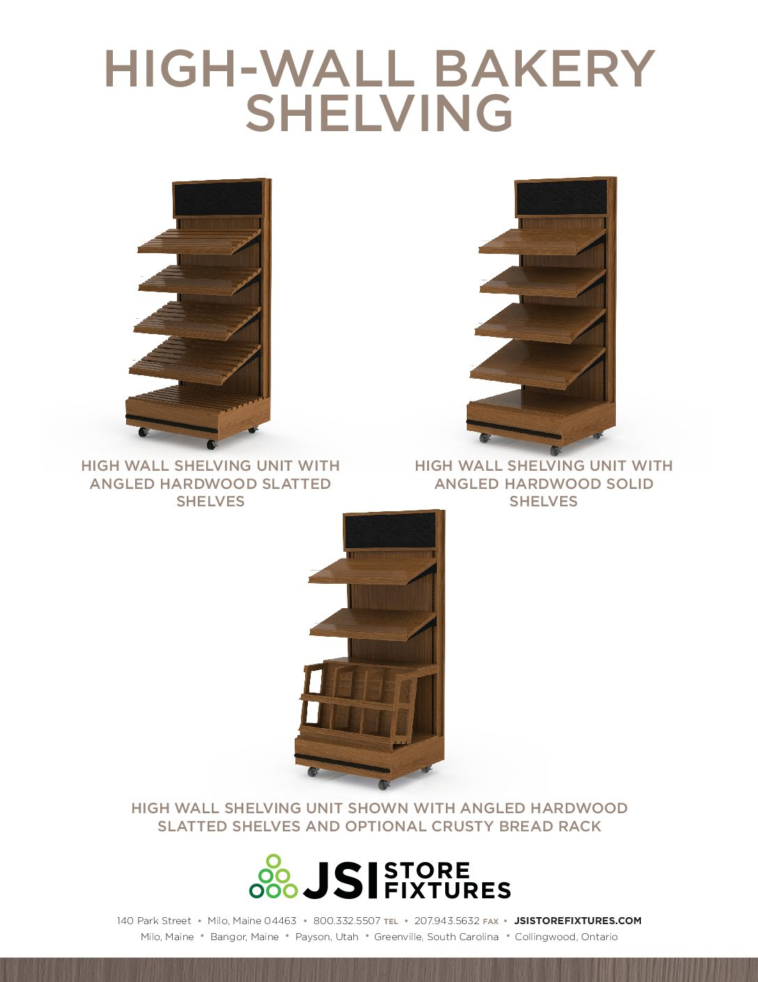 High-Wall Bakery Shelving Spec Sheet