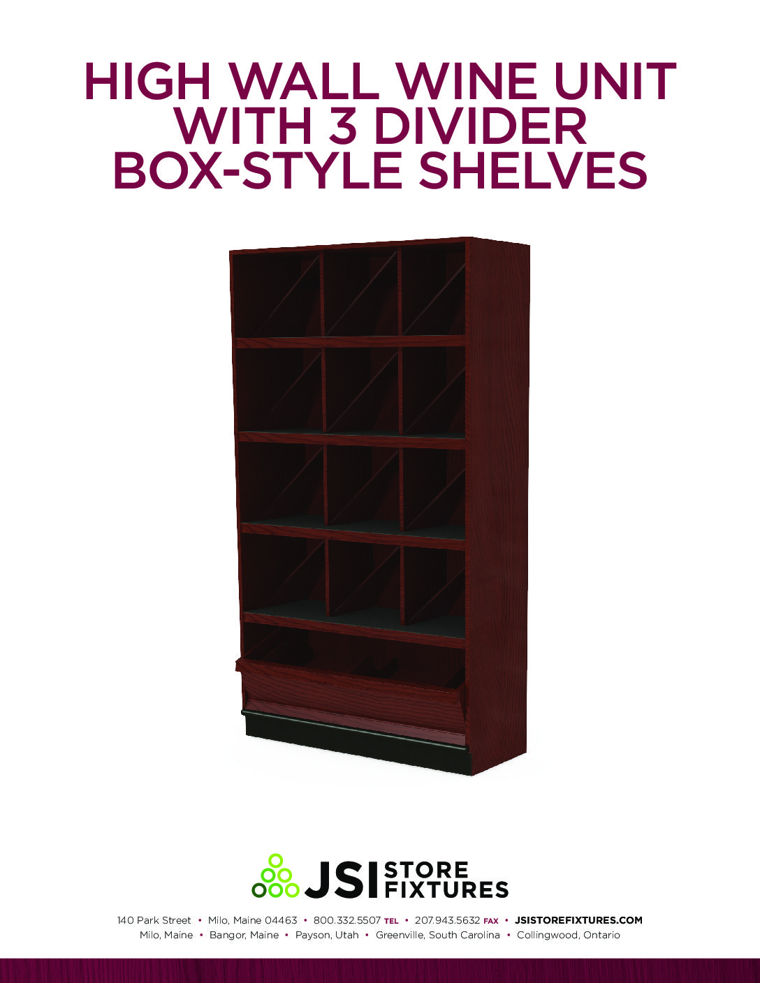 High Wall Wine Unit with 3 Divider Box-Style Shelves Spec Sheet