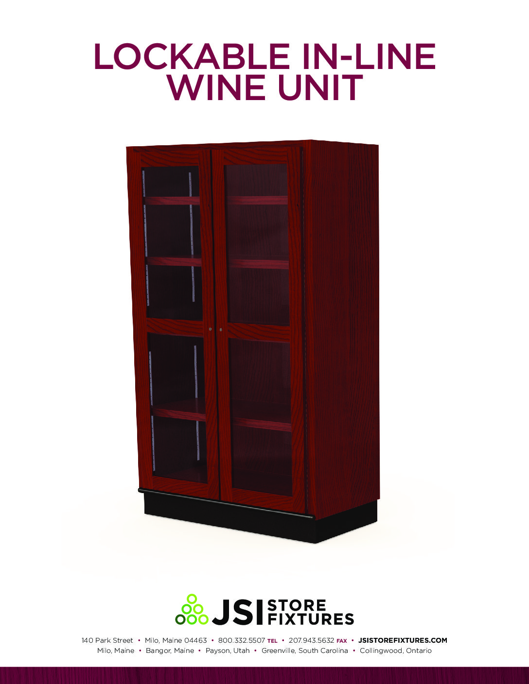 Lockable In-Line Wine Unit Spec Sheet