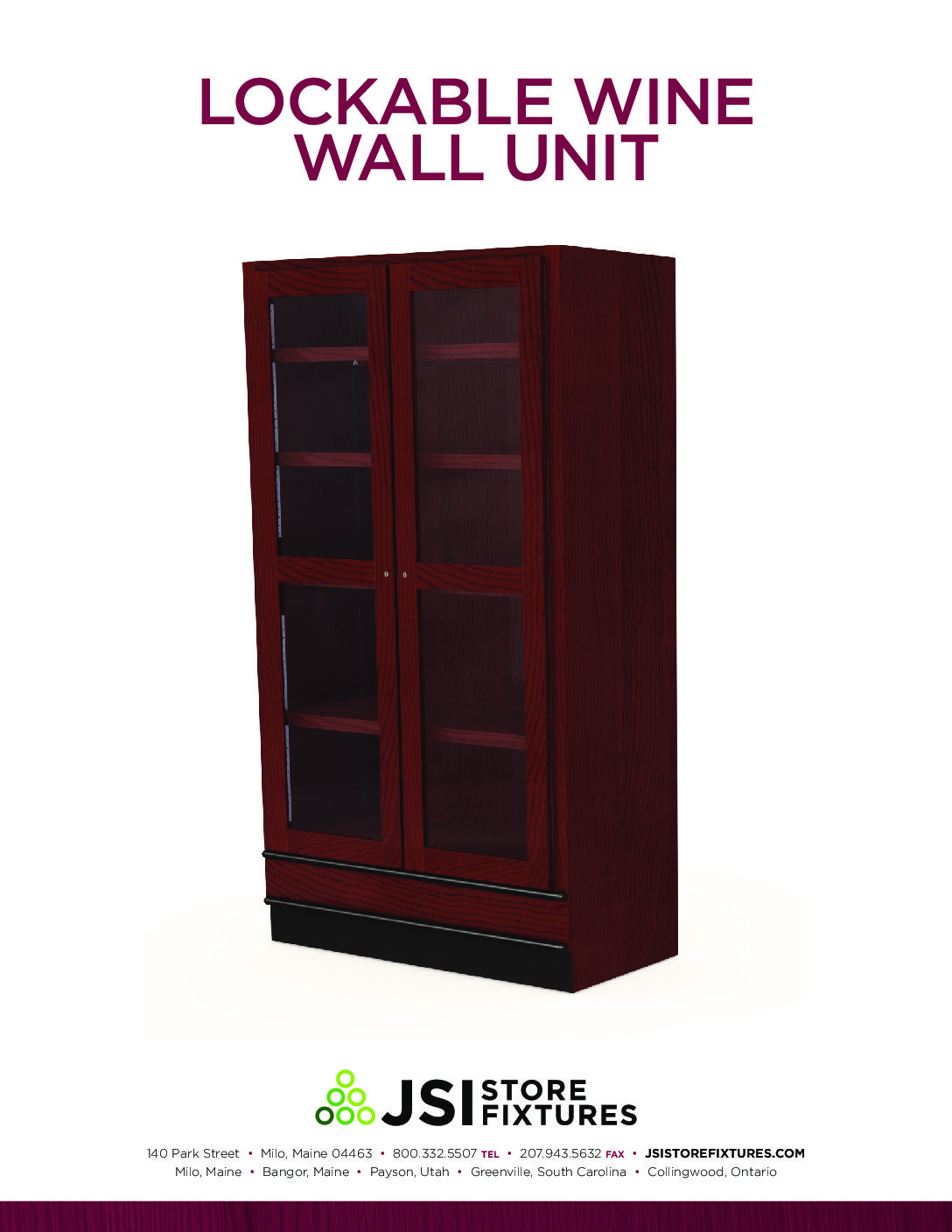 Lockable Wine Wall Unit Spec Sheet