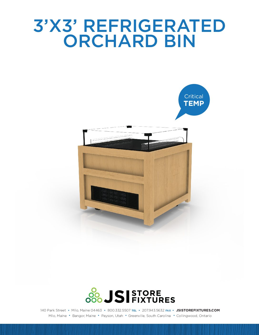 3'x3' Refrigerated Orchard Bin Spec Sheet