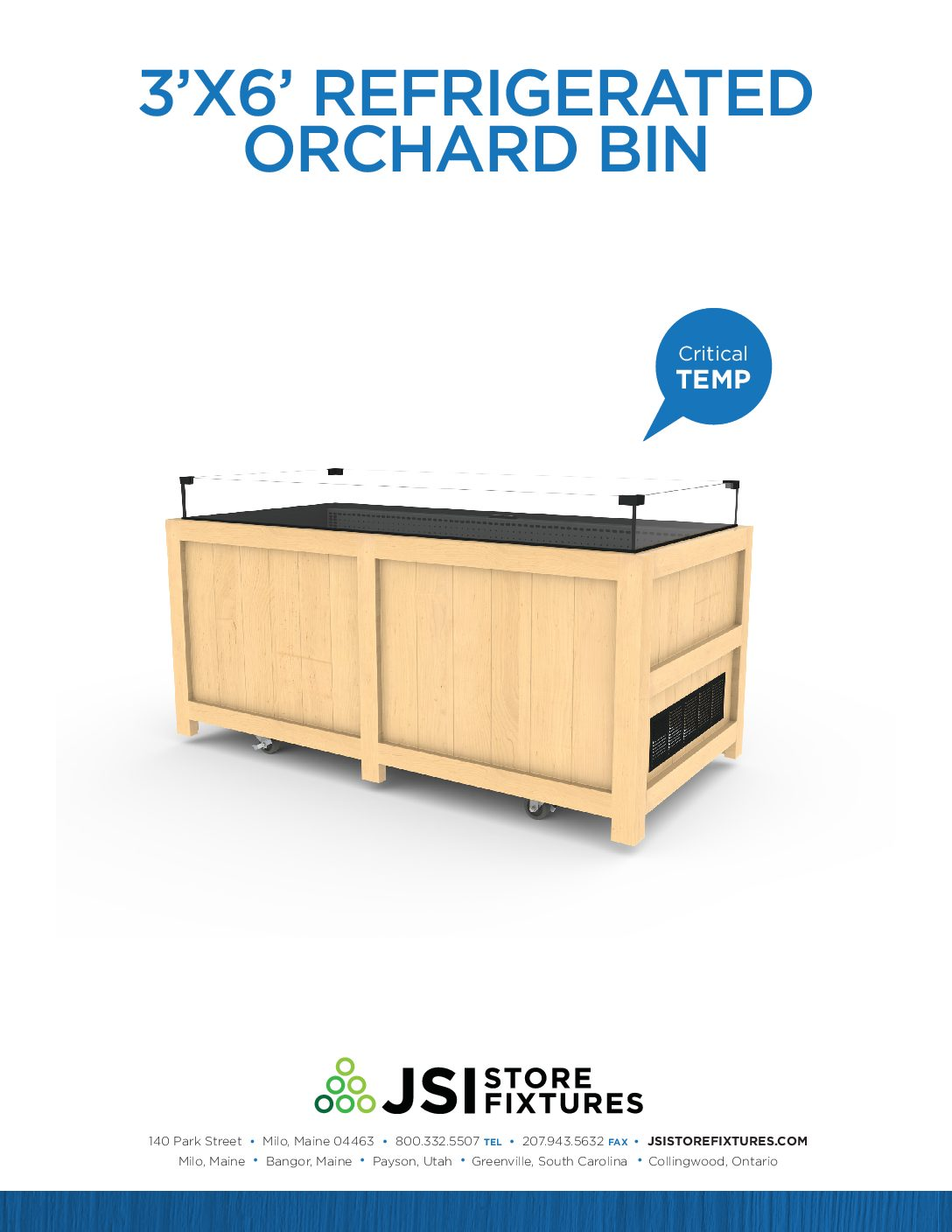 3'x6' Refrigerated Orchard Bin Spec Sheet