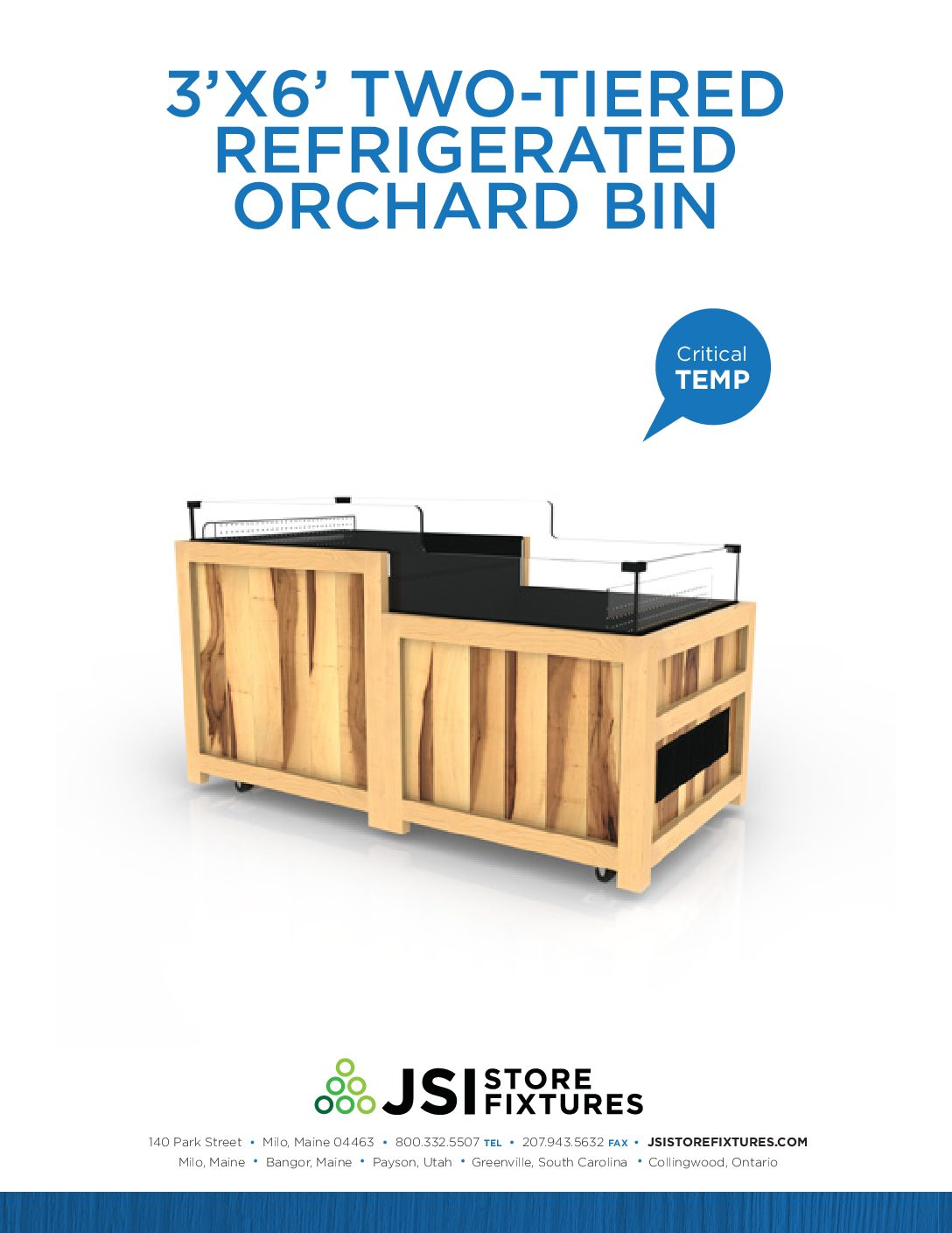3'x6' Two-Tiered Refrigerated Orchard Bin Spec Sheet