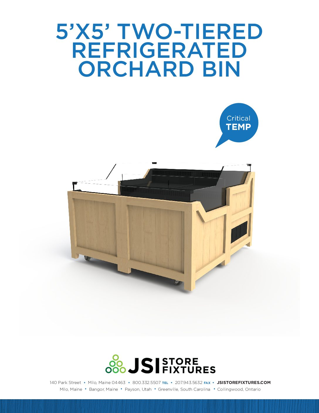 5'x5' Two-Tiered Refrigerated Orchard Bin Spec Sheet