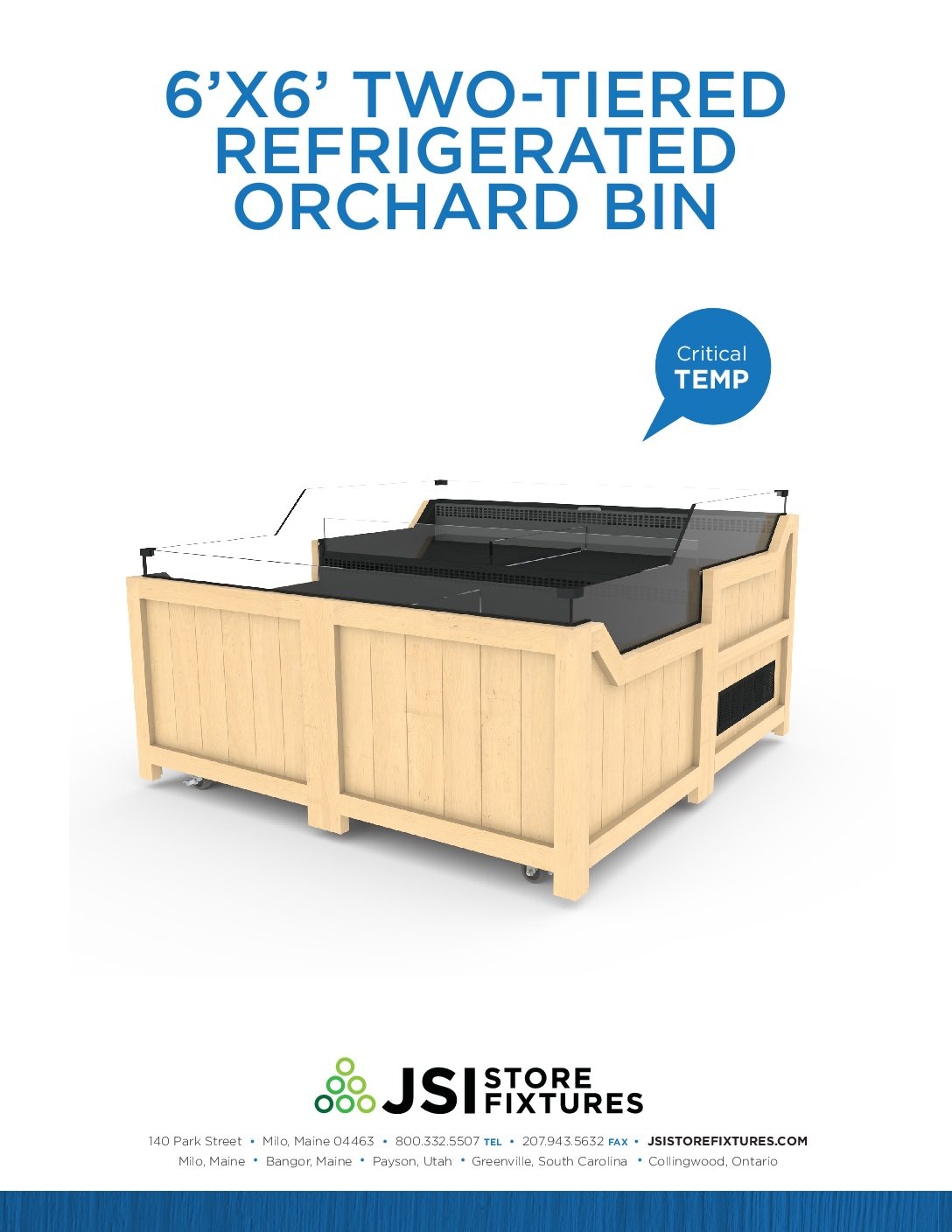 6'x6' Two-Tiered Refrigerated Orchard Bin Spec Sheet