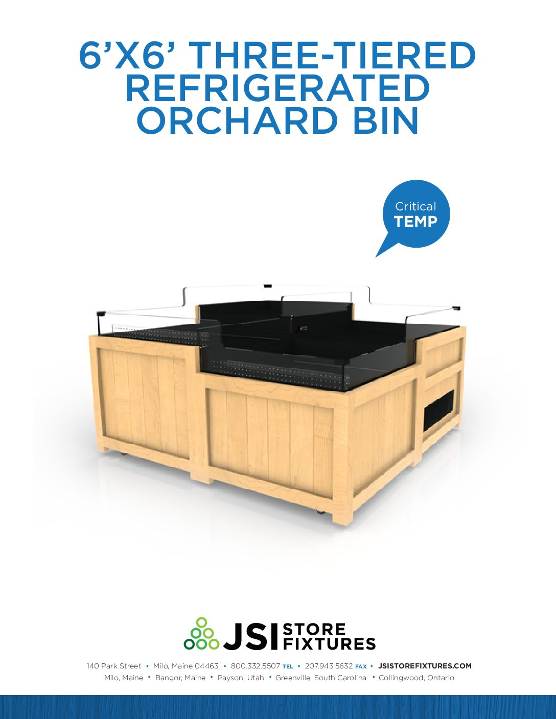 6'x6' Three-Tiered Refrigerated Orchard Bin Spec Sheet