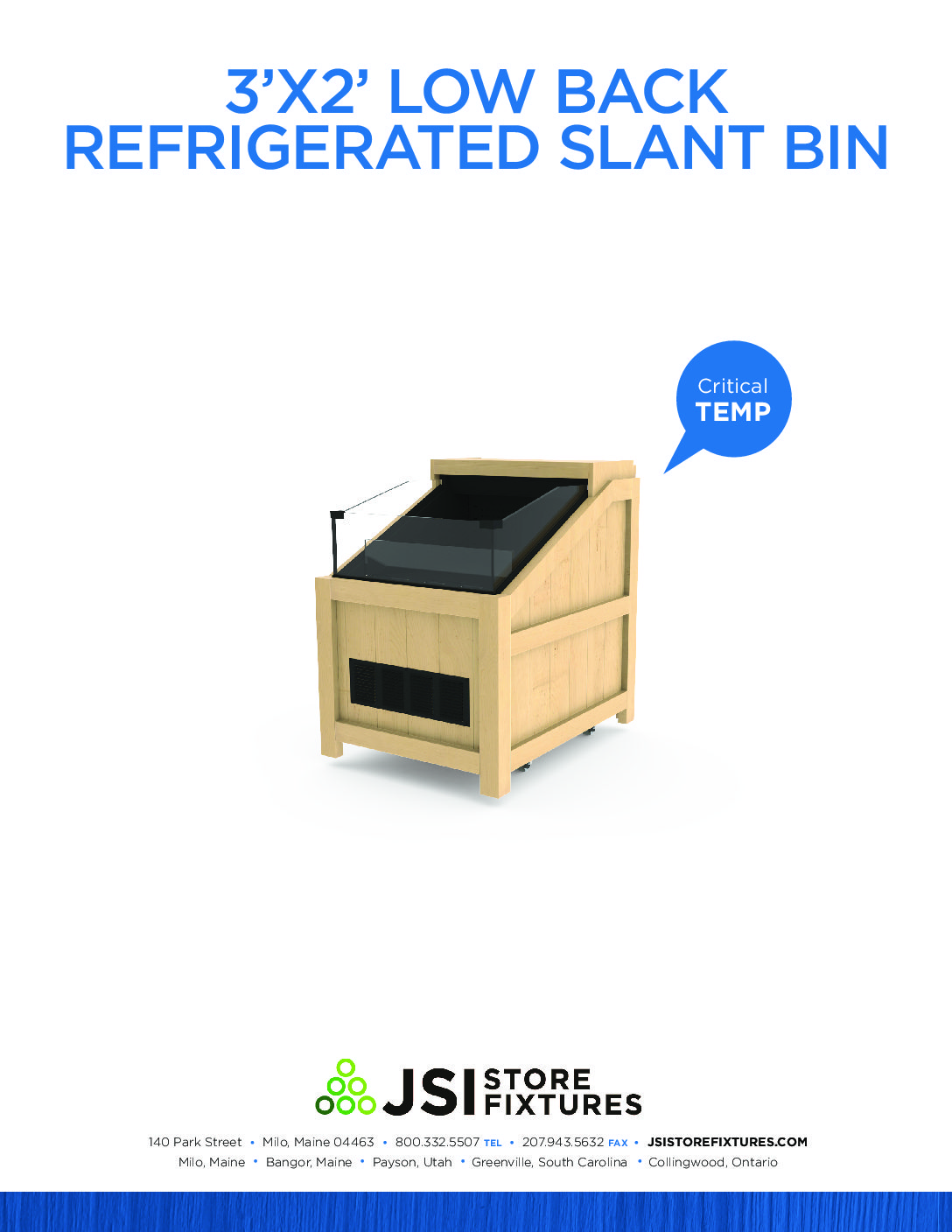3'x2' Low Back Refrigerated Slant Bin Spec Sheet