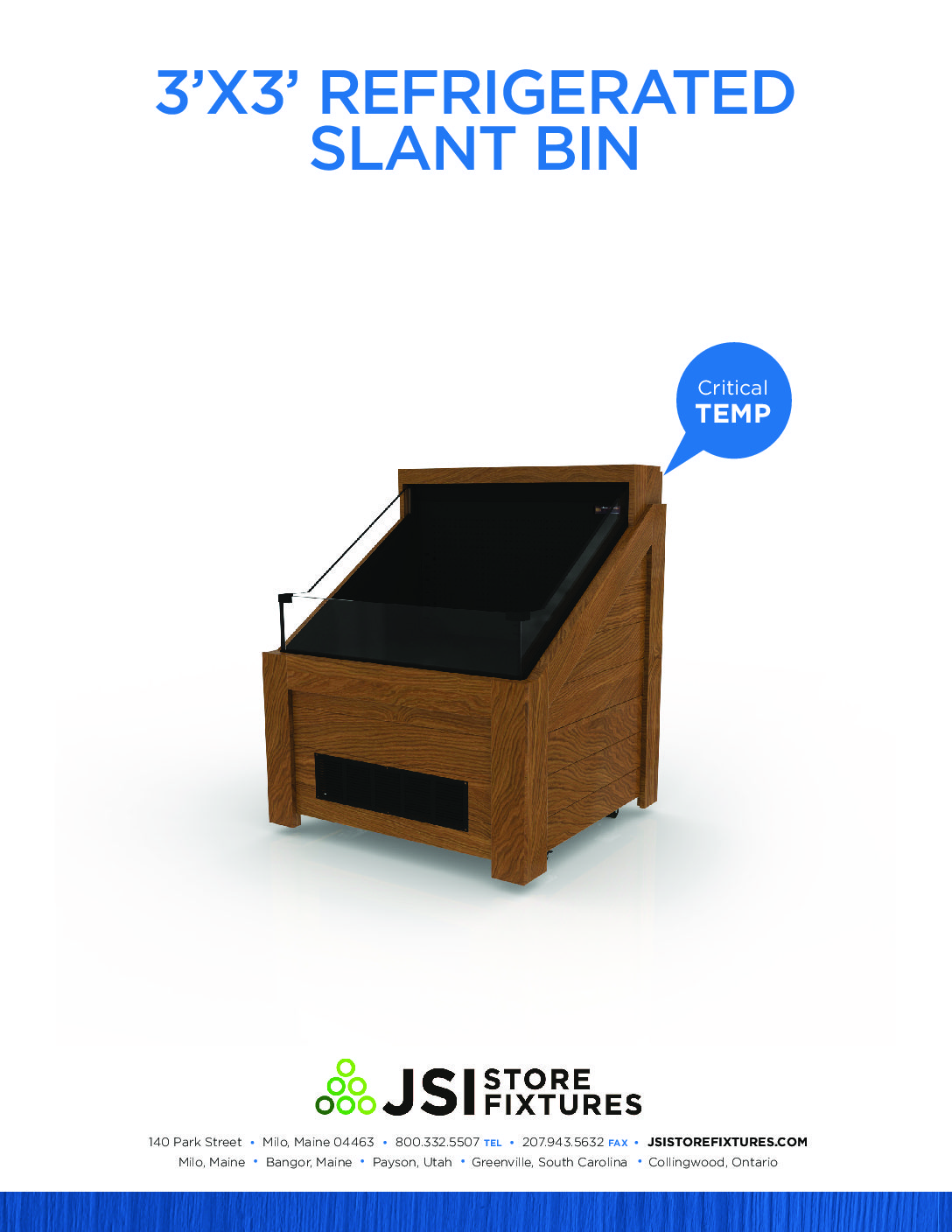 3'x3' Refrigerated Slant Bin Spec Sheet