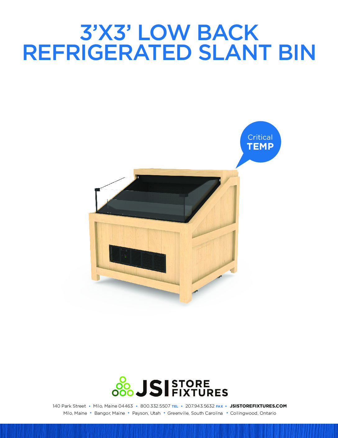 3'x3' Low Back Refrigerated Slant Bin Spec Sheet