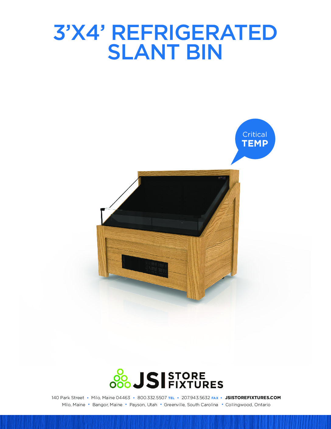 3'x4' Refrigerated Slant Bin Spec Sheet