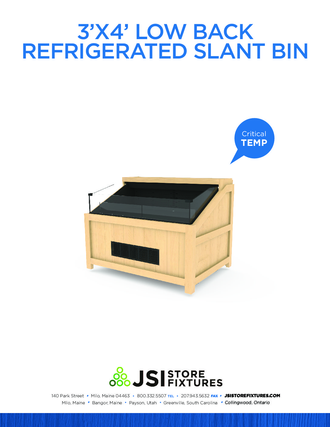 3'x4' Low Back Refrigerated Slant Bin Spec Sheet