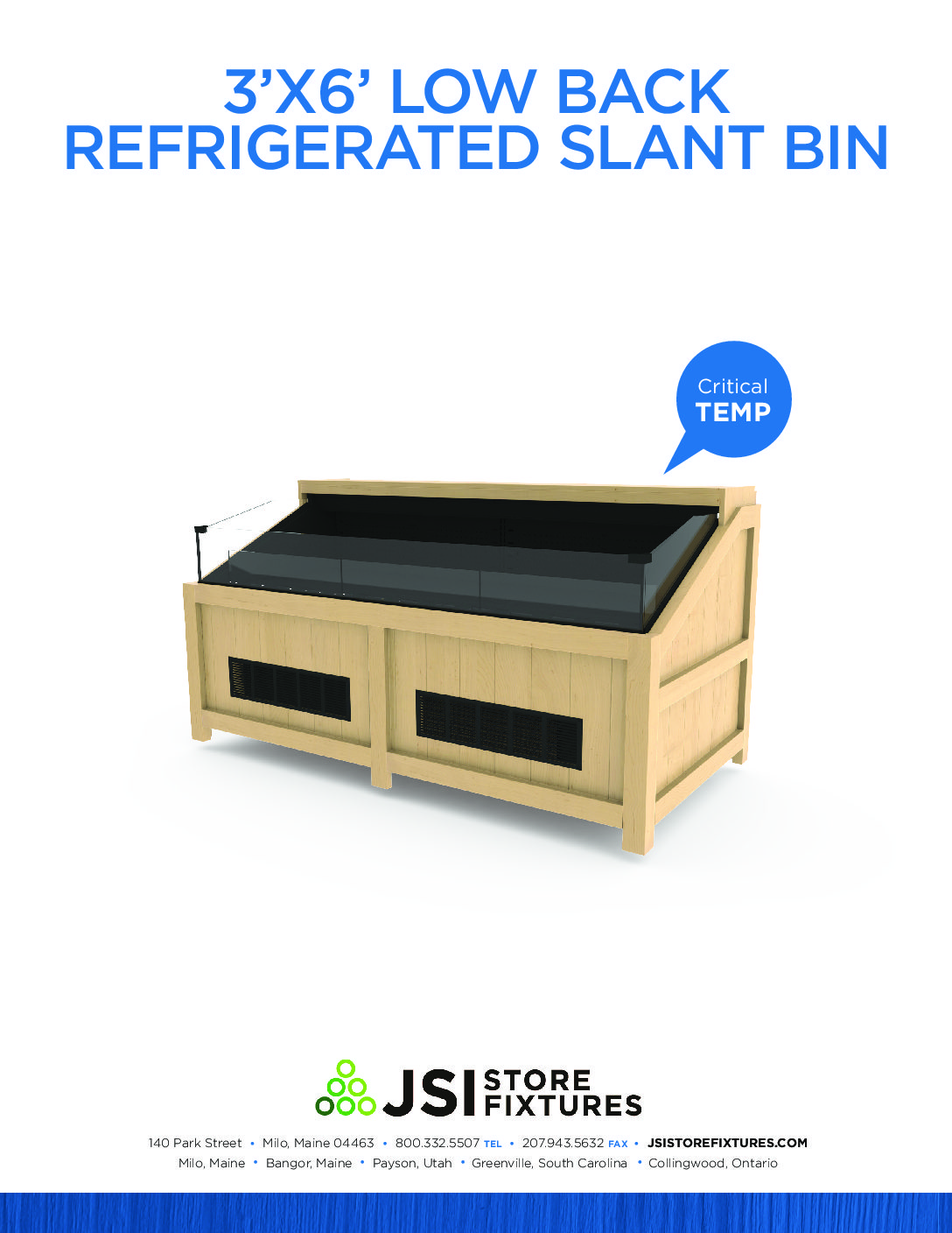 3'x6' Low Back Refrigerated Slant Bin Spec Sheet