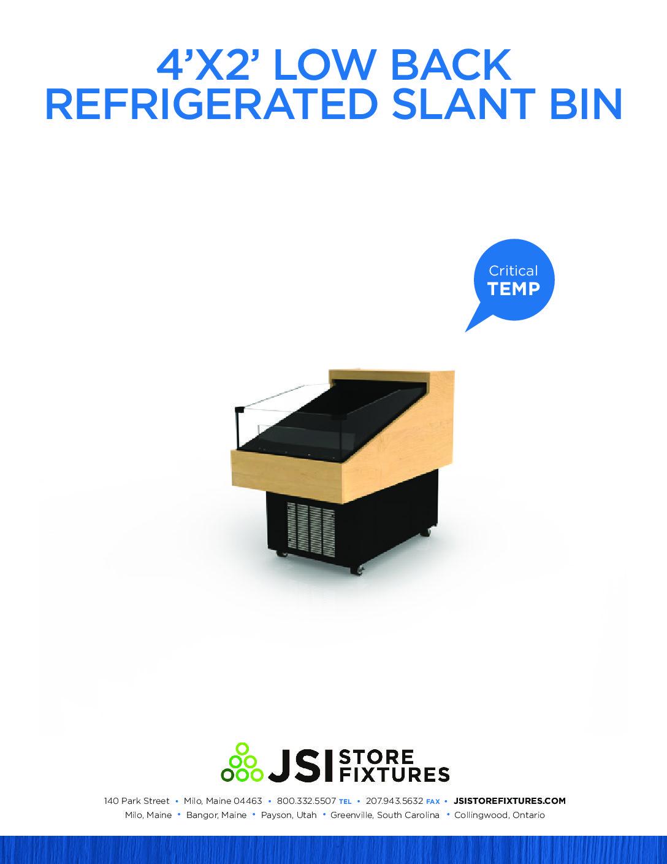 4'x2' Low Back Refrigerated Slant Bin Spec Sheet