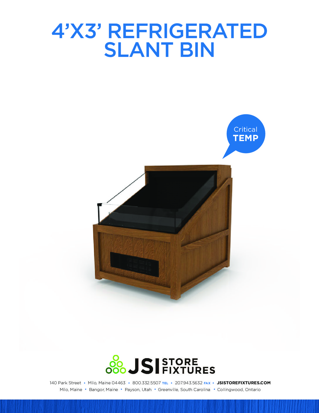 4'x3' Refrigerated Slant Bin Spec Sheet