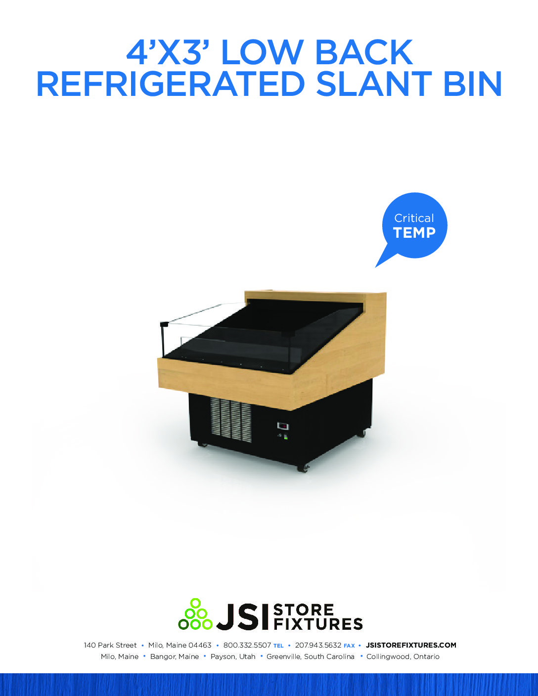 4'x3' Low Back Refrigerated Slant Bin Spec Sheet