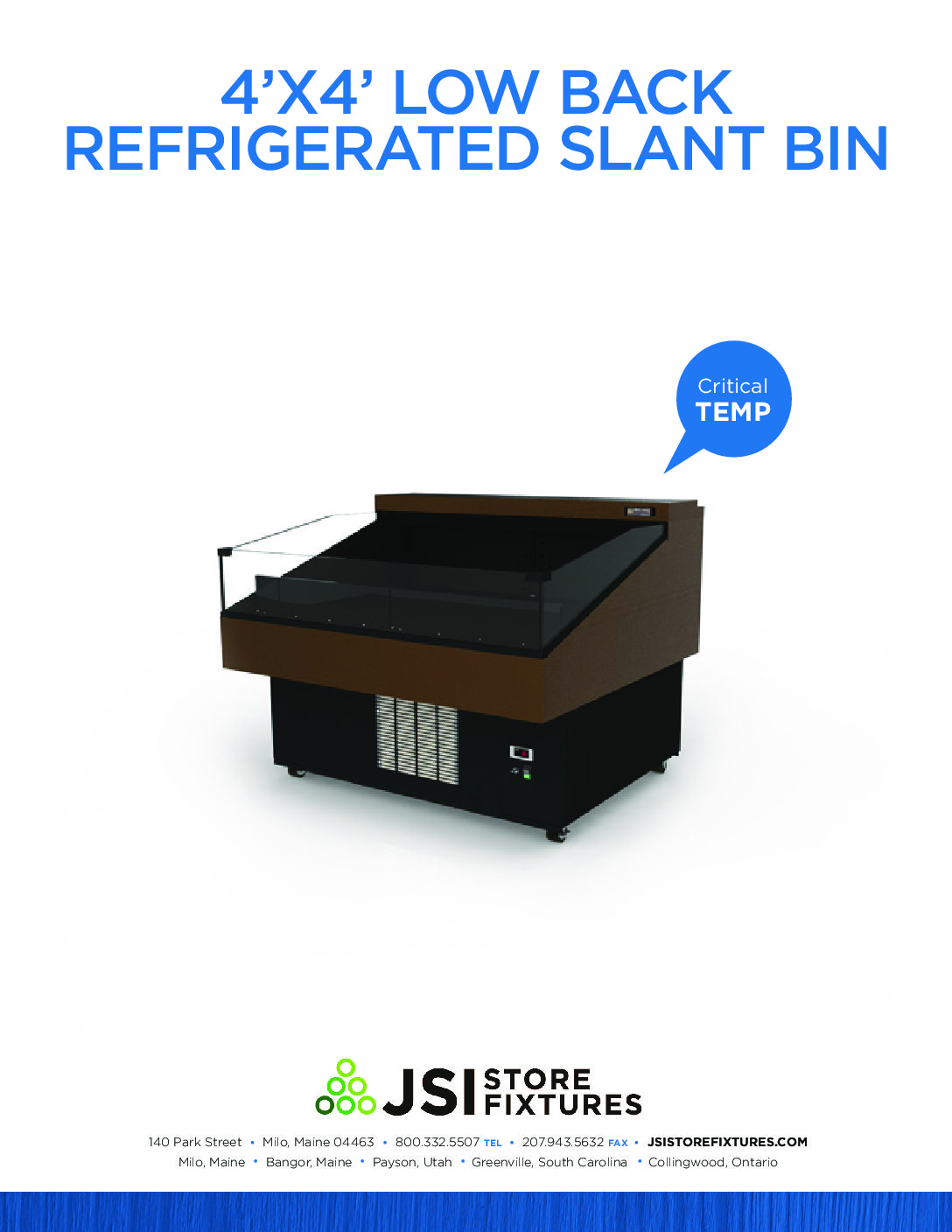 4'x4' Refrigerated Slant Bin Spec Sheet