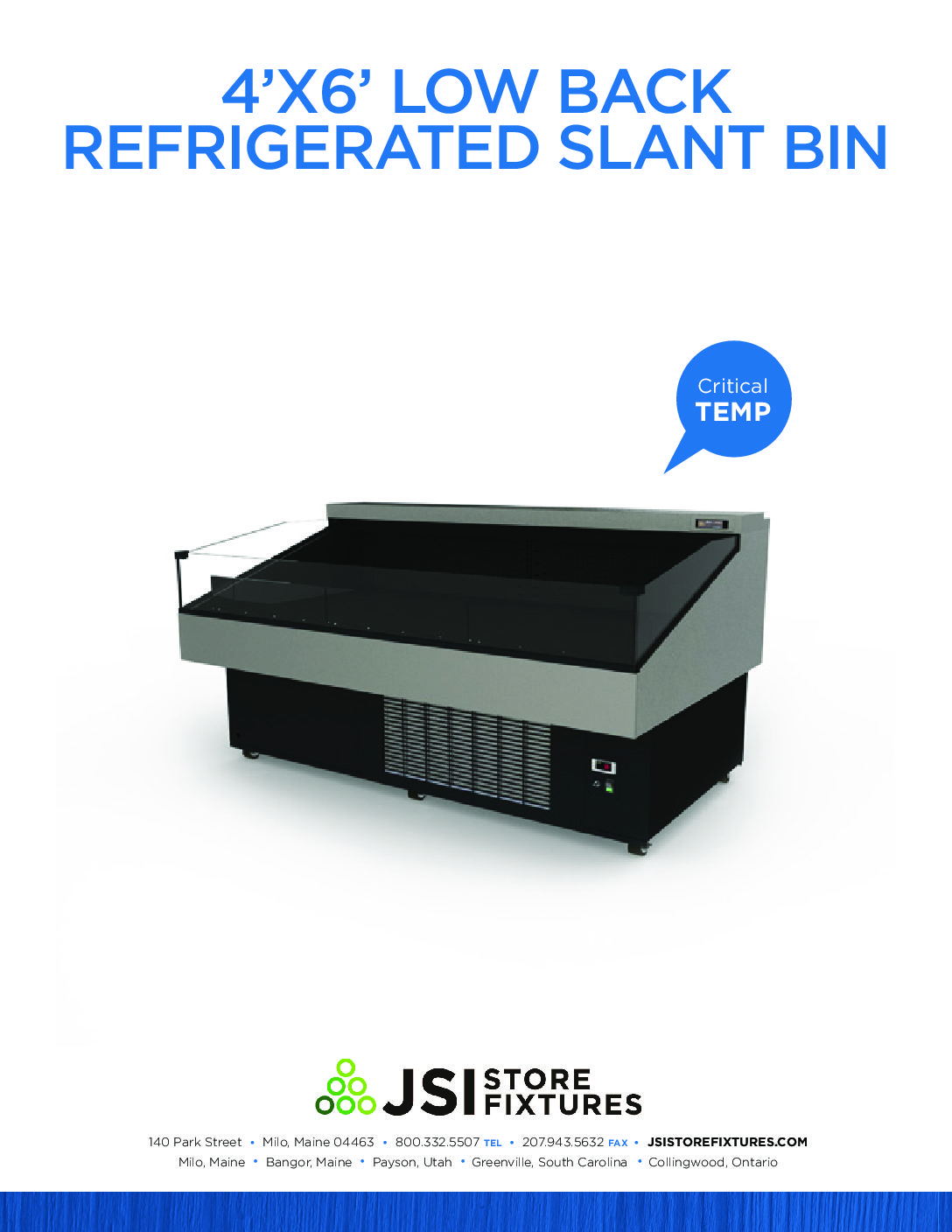 4'x6' Low Back Refrigerated Slant Bin Spec Sheet