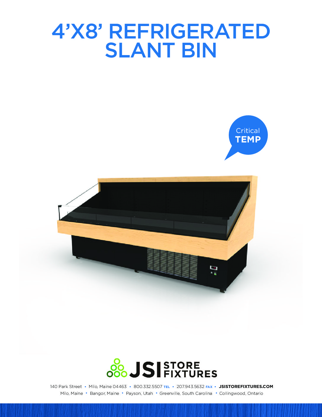 4'x8' Refrigerated Slant Bin Spec Sheet