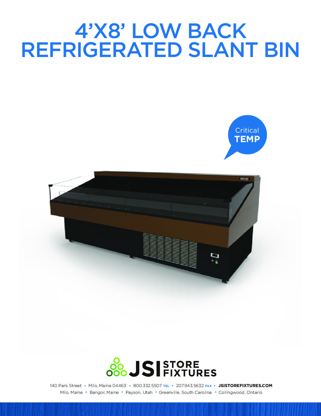 4'x8' Low Back Refrigerated Slant Bin Spec Sheet
