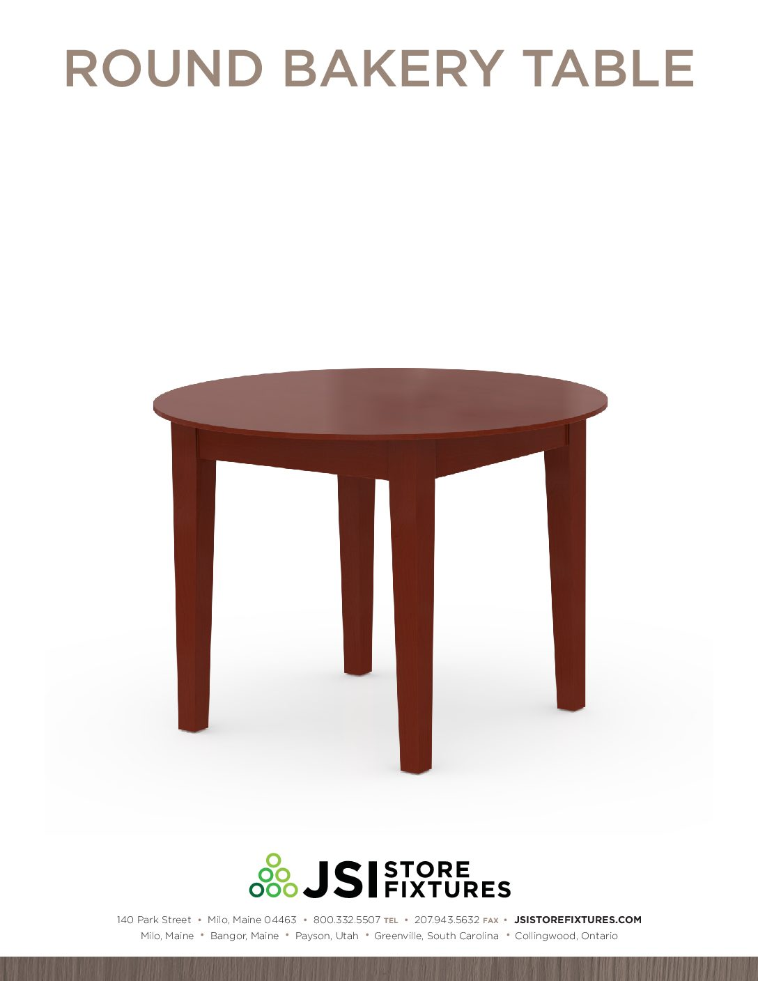 Round Bakery Table Spec Sheet