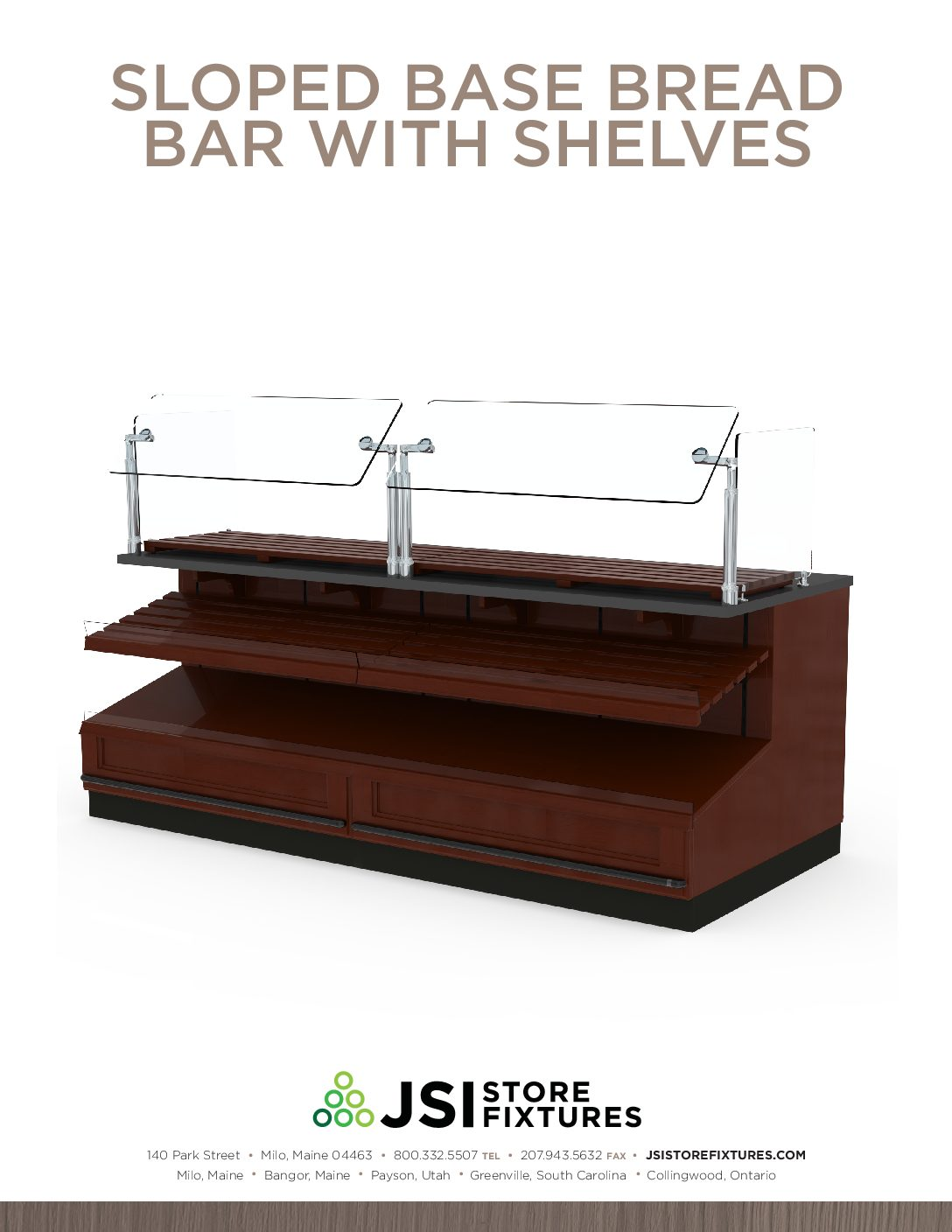Sloped Base Bread Bar with Shelves Spec Sheet