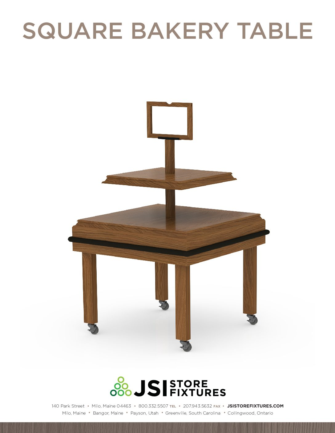 jsi store fixtures square bakery table