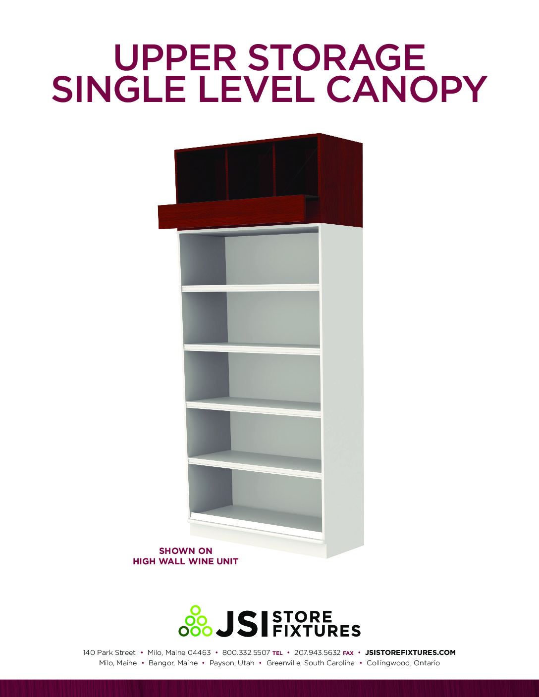 Upper Storage Single Level Canopy Spec Sheet