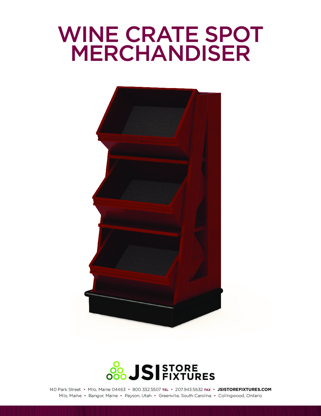 Wine Crate Spot Merchandiser Spec Sheet