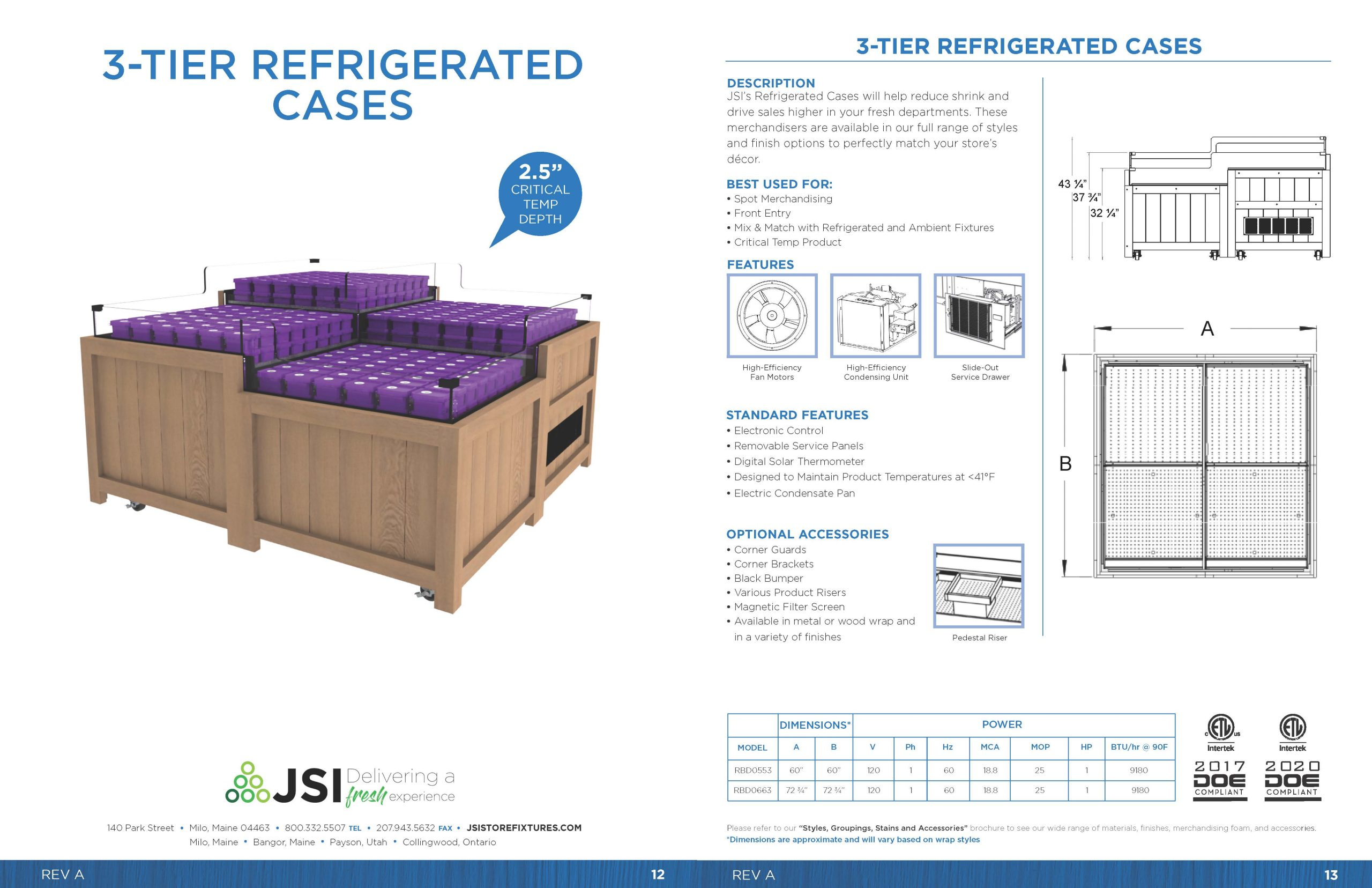 3-Tier Refrigerated Cases
