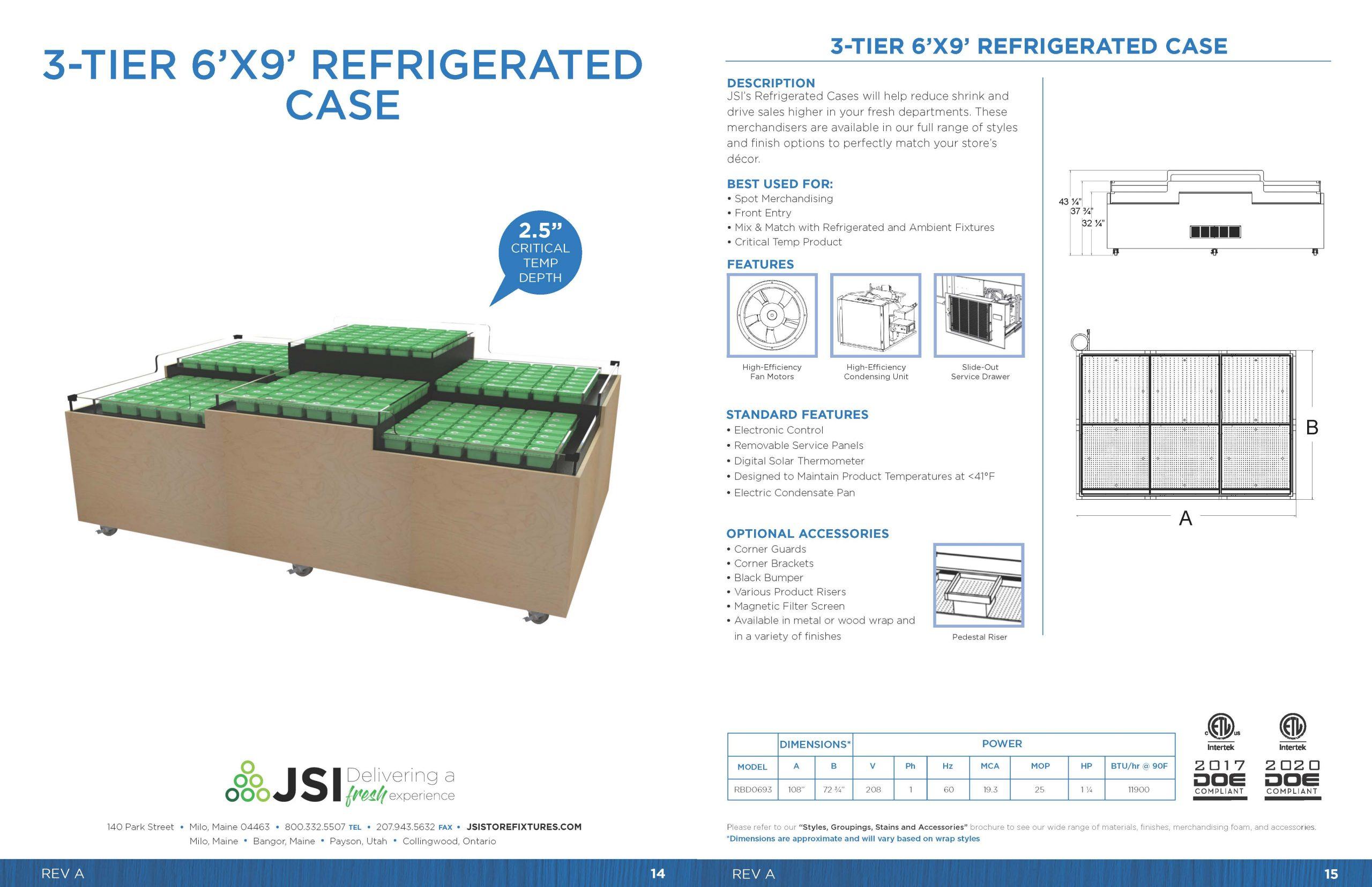 3-Tier 6x9 Refrigerated Case