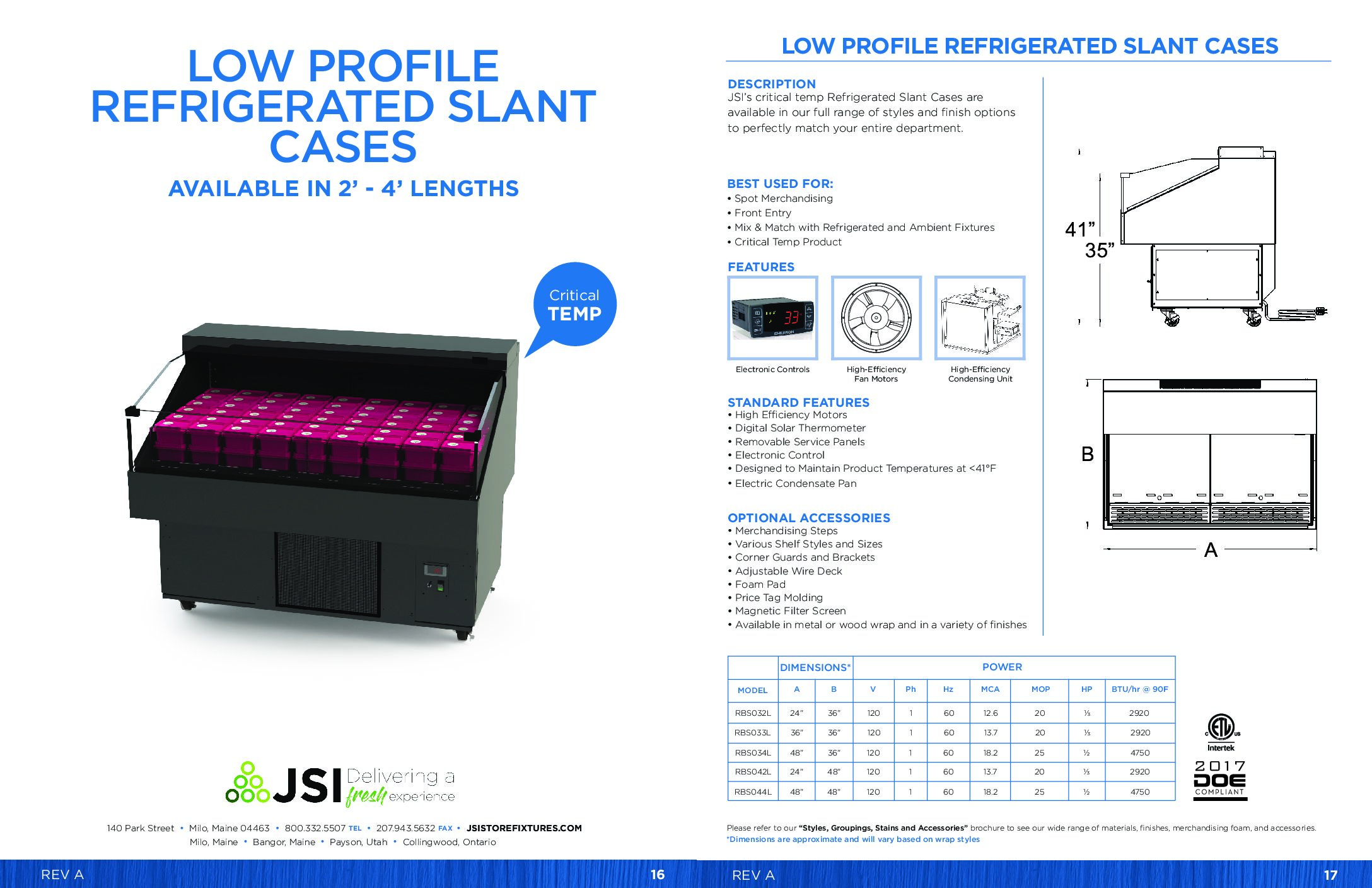 Low Profile Refrigerated Slant Cases (2'-4'W) (PDF)