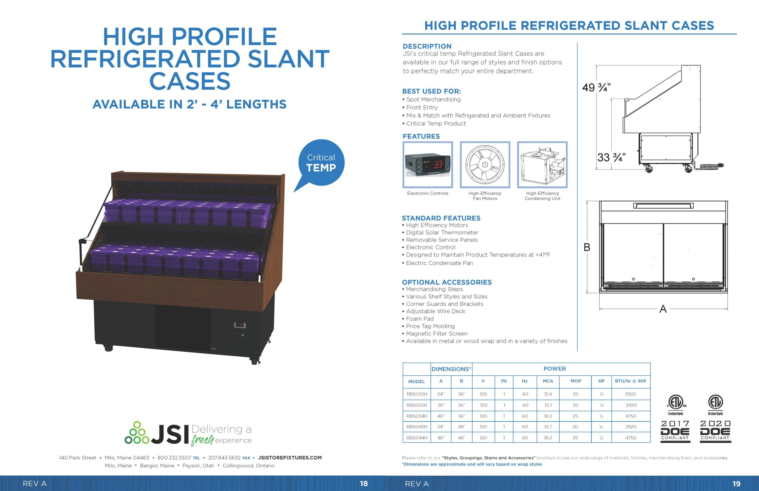 High Profile Refrigerated Slant Cases