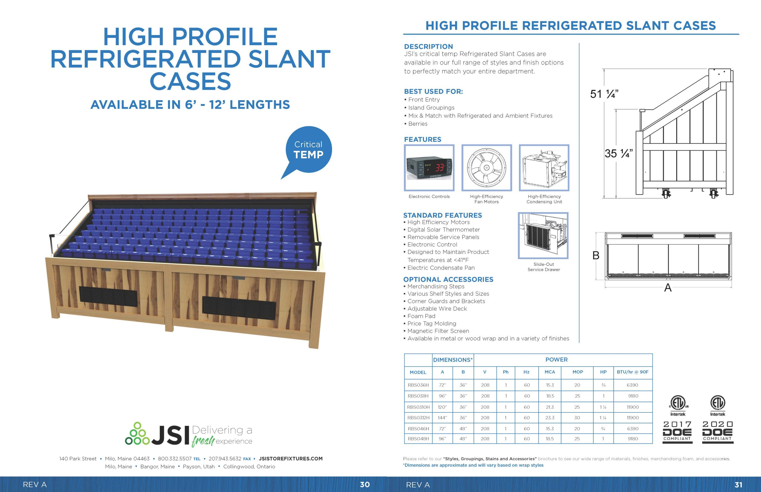 High Profile Refrigerated Slant Cases_6ft-12ft
