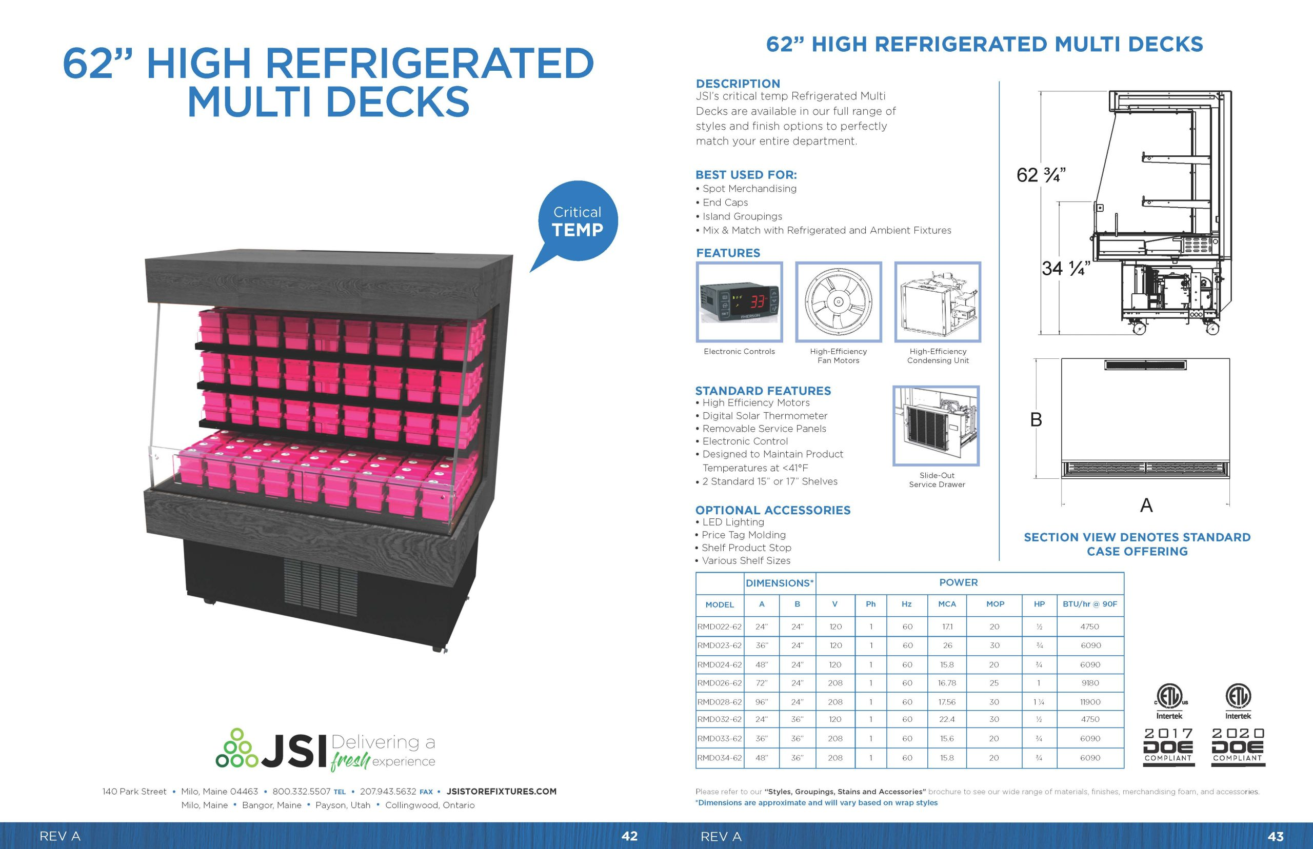 62in High Refrigerated Multi Decks