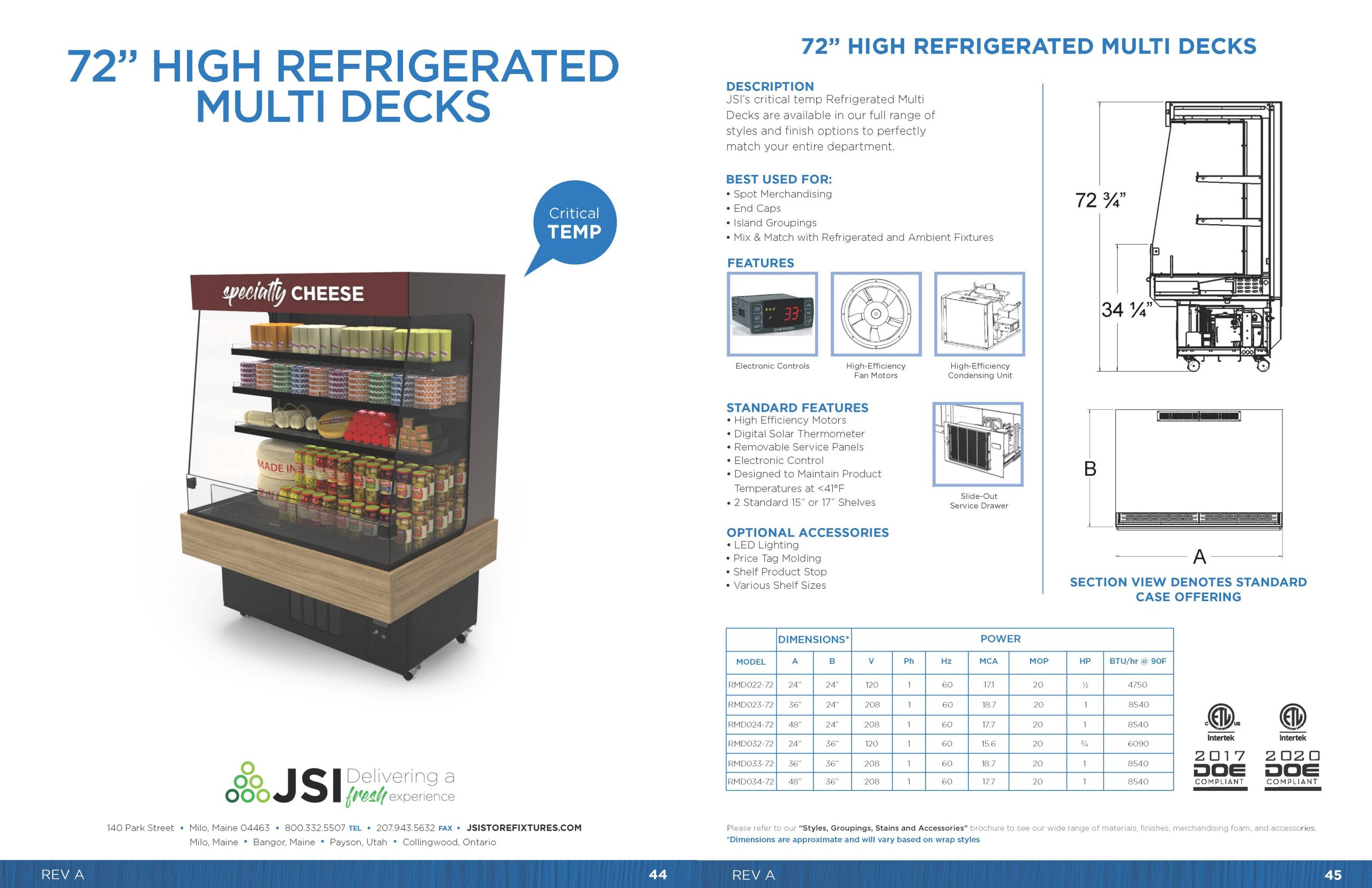 72in High Refrigerated Multi Decks